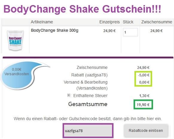 BodyChange Shake Gutschein