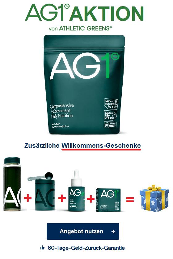AG1 Supplement athletic greens angebot erstbesteller-geschenk